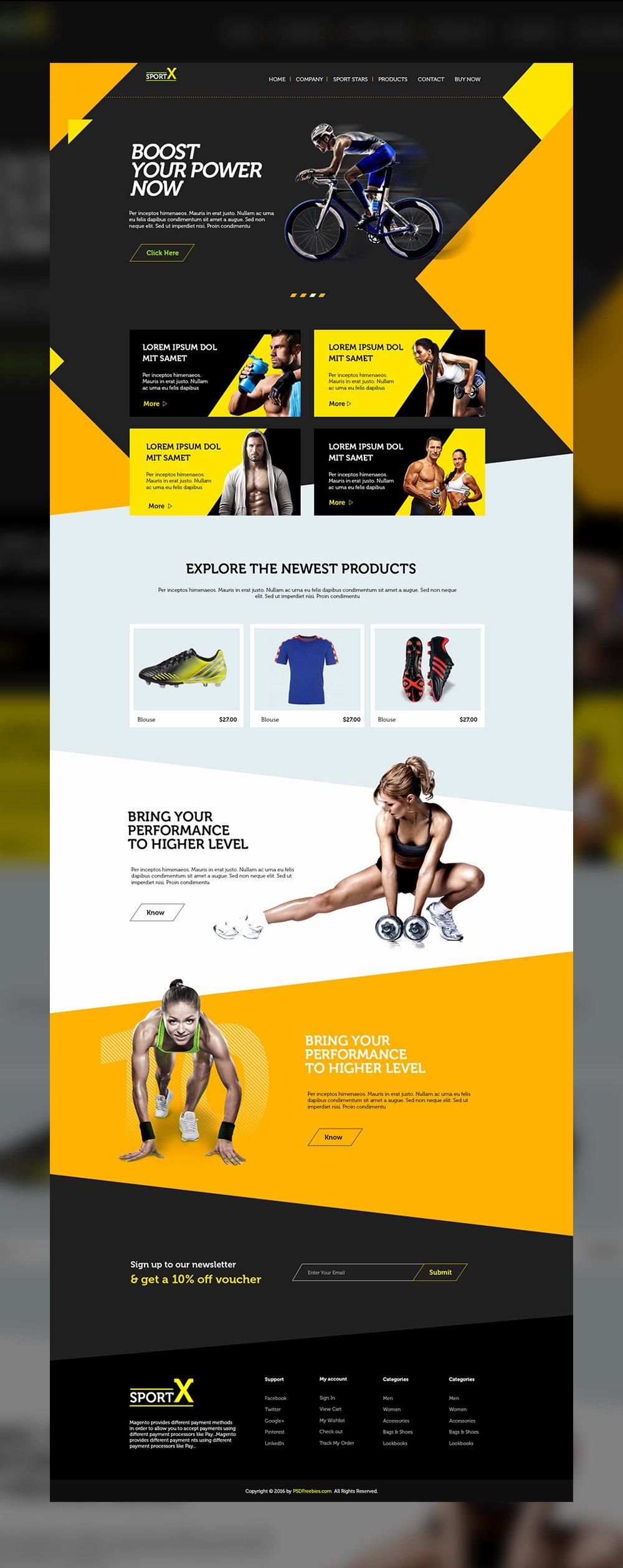 Sports Web Site Template Luxury Sports Shop Website Multipurpose Free Psd Template