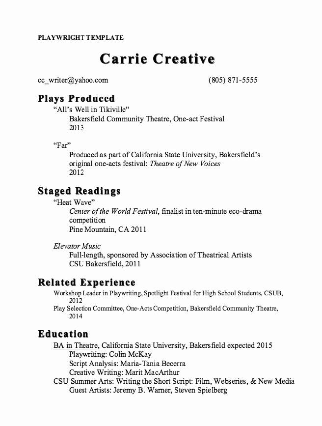 Stage Play format Template Best Of Pin by Ririn Nazza On Free Resume Sample