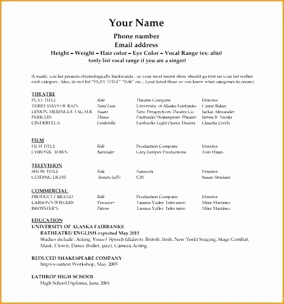 Stage Play format Template Inspirational theatre Acting Resume format Template No Experience