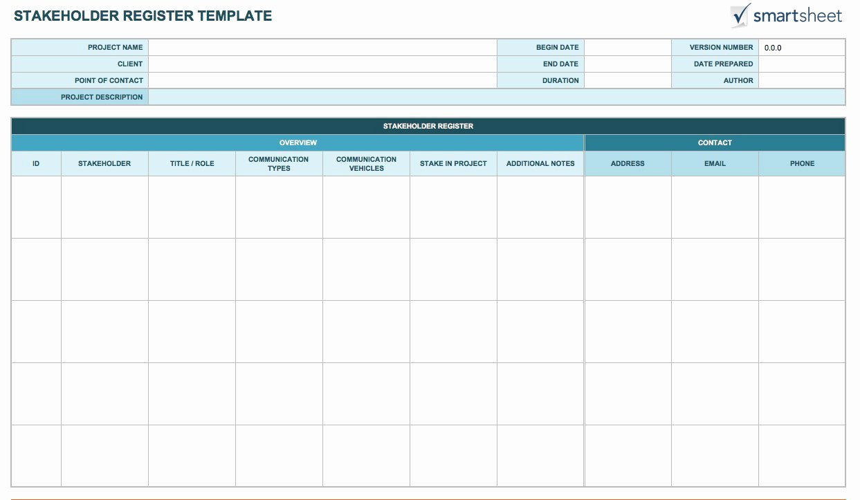Stakeholder Analysis Template Excel Unique Free Stakeholder Analysis Templates Smartsheet