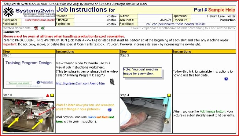 Standard Work Instruction Template Lovely toyota Work Instructions