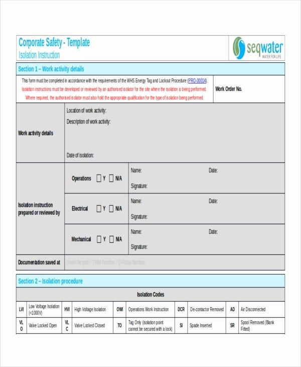 Standard Work Instruction Template New 9 Work Instruction Templates Free Sample Example