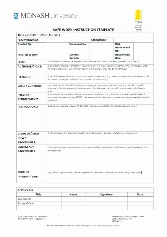 Standard Work Instructions Template New Standard Work Instructions Excel Template Safe Instruction