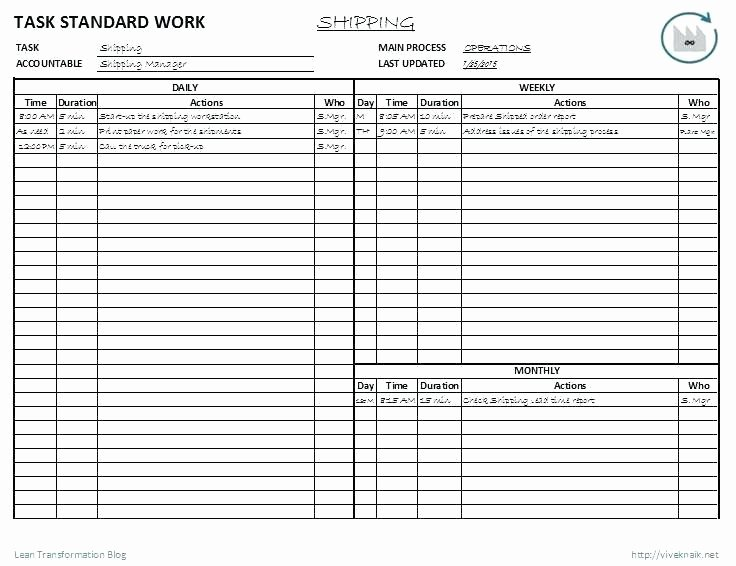Standard Work Template Excel Beautiful Time Stu S Work Measurement and Standards How Not to