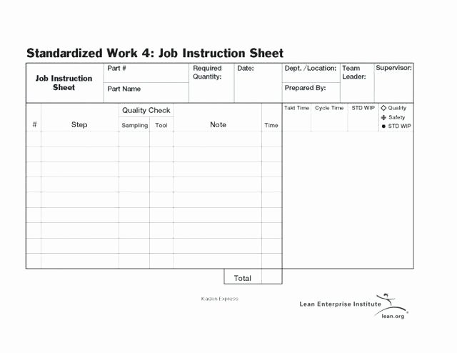 Standard Work Template Excel Best Of Leader Standard Work Template Lean Excel Templates for