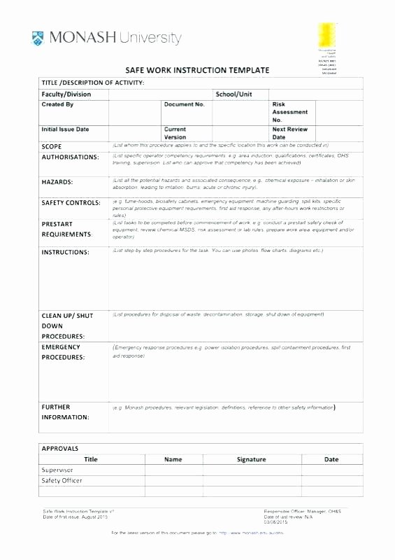 Standard Work Template Excel Inspirational Work Instruction Template Excel Essential Picture