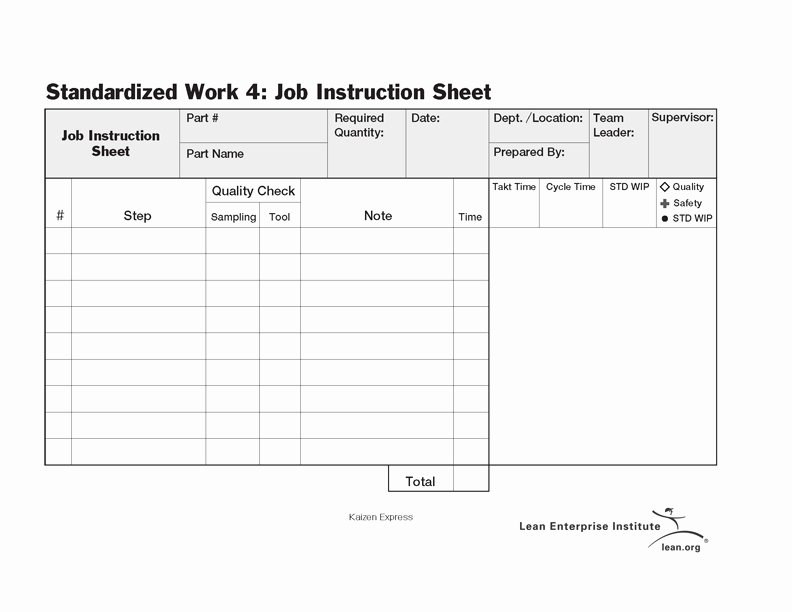 Standard Work Template Excel Luxury Standardized Work Job Instruction Sheet