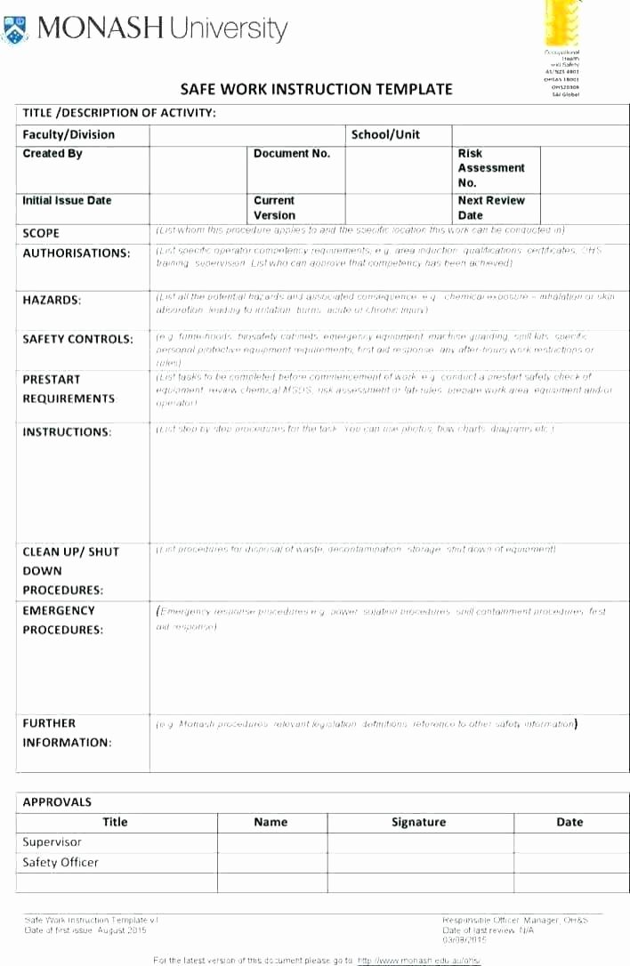 Standardized Work Instruction Template Best Of Standard Work Instructions Template