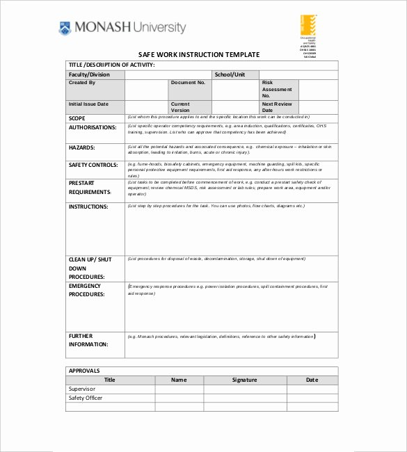 Standardized Work Instruction Template Inspirational 6 Instruction Templates Doc Pdf Excel