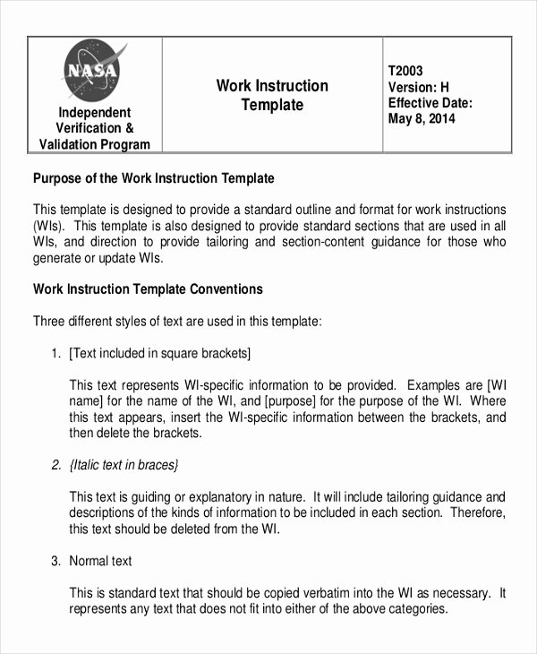 Standardized Work Instruction Template Unique Working Instruction Template 6 Free Word Pdf Document