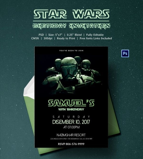 Star Wars Invitations Template Beautiful 23 Star Wars Birthday Invitation Templates – Free Sample