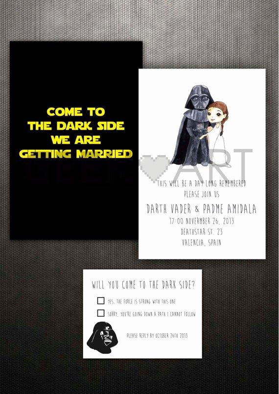 Star Wars Invitations Template Beautiful Items Similar to Printable Star Wars Wedding Invitation