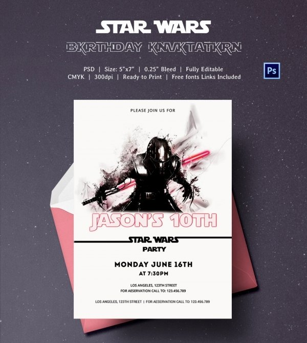 Star Wars Invitations Template Inspirational 23 Star Wars Birthday Invitation Templates – Free Sample