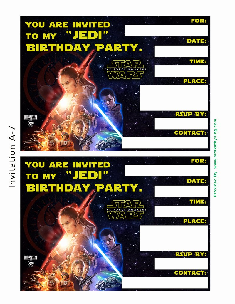 Star Wars Invitations Template Luxury Free Star Wars the force Awakens Printable Party