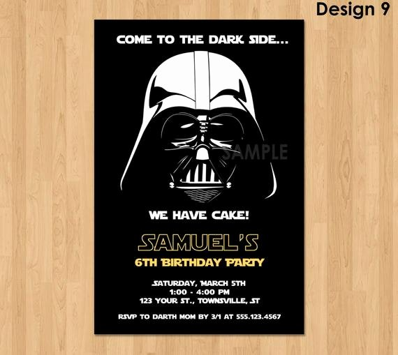 Star Wars Invitations Template New Darth Vader Invitation Star Wars Birthday Invitation Star