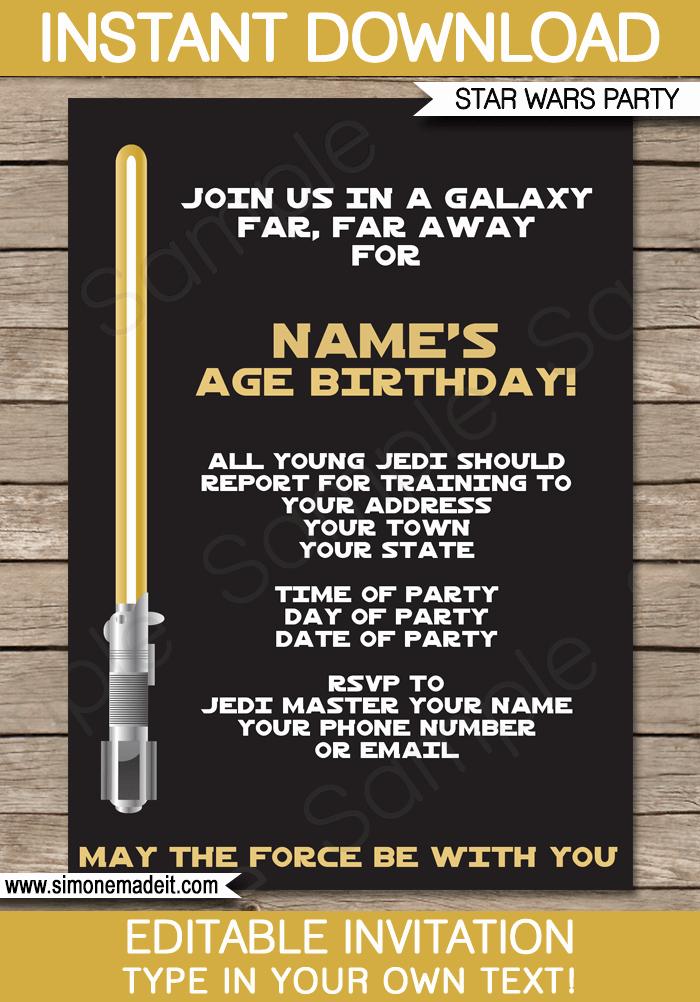 Star Wars Invitations Template New Gold Star Wars Invitations Editable Template