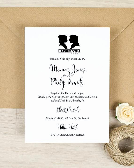 Star Wars Invitations Template New Star Wars Wedding Invitation Invitation I Love You I Know