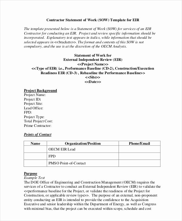 Statement Of Work Template Elegant Statement Of Work Template 13 Free Pdf Word Excel