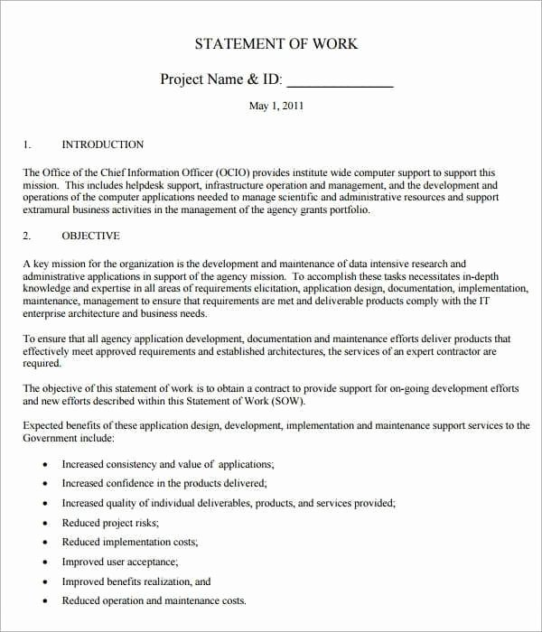 Statement Of Work Template Inspirational 8 Statement Of Work Templates Word Excel Pdf formats