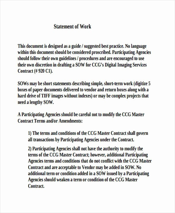Statement Of Work Template Luxury 31 Statement Of Work Examples & Samples Pdf Word Pages