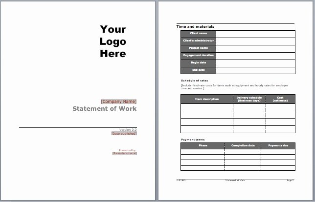 Statement Of Work Template Unique sow Template