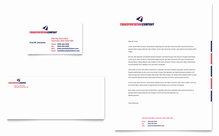 Stationary Template for Word Beautiful Transportation Pany Business Card & Letterhead Template
