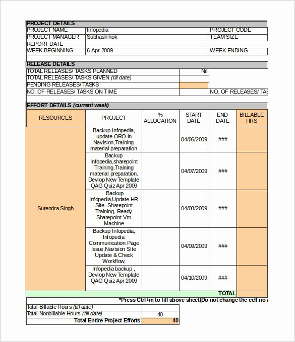 Status Report Template Excel Fresh 33 Weekly Activity Report Templates Pdf Doc