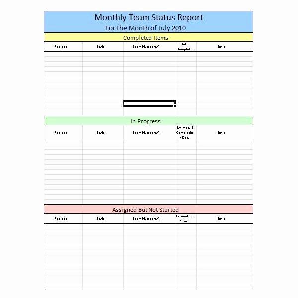 Status Report Template Excel Fresh Sample Team Monthly Report Template In Excel Free
