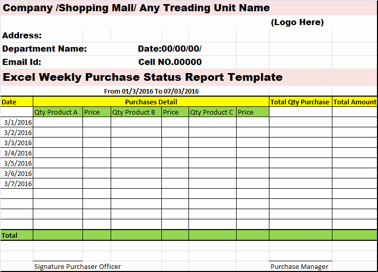 Status Report Template Excel New Excel Weekly Purchases Status Report Template – Free