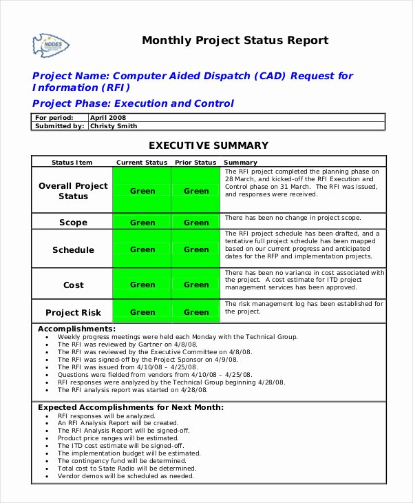 Status Report Template Word Elegant Status Report Template 18 Free Word Pdf Documents