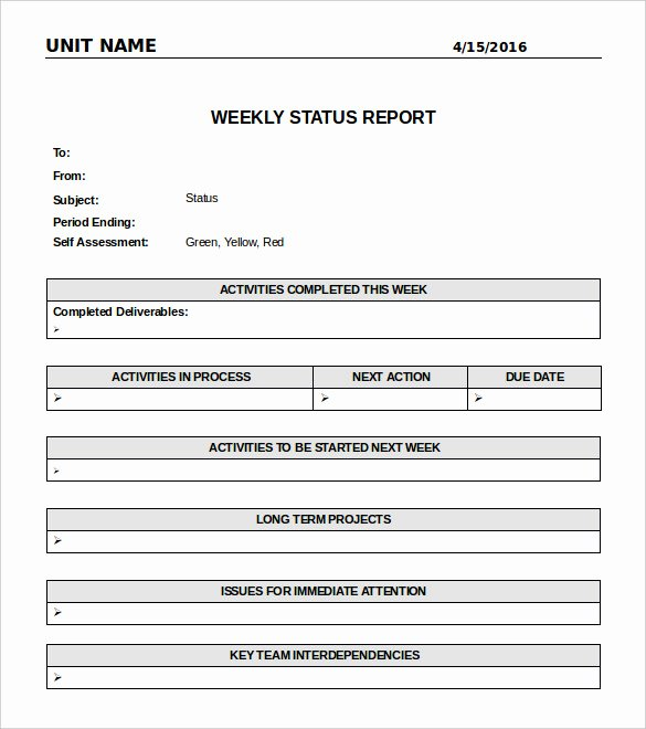 Status Report Template Word Fresh Weekly Status Report Template
