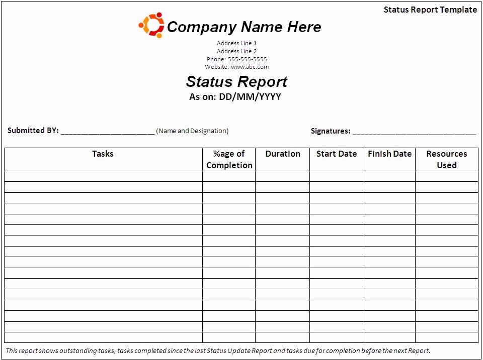 Status Report Template Word Inspirational Report Templates