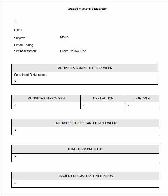 Status Report Template Word Luxury 33 Weekly Activity Report Templates Pdf Doc