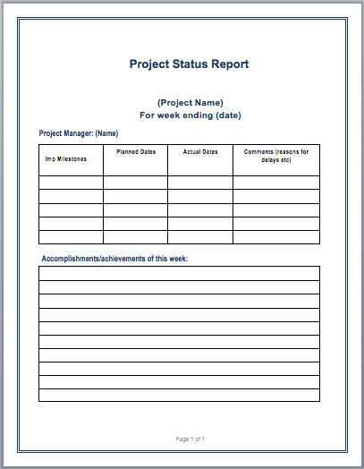 Status Report Template Word Luxury Project Status Report Template – Microsoft Word Templates