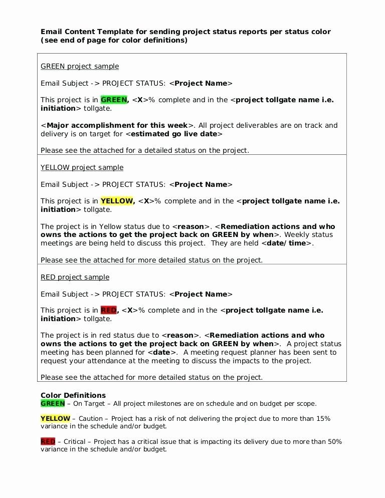 Status Update Email Template Beautiful Status Email Template Email Template Result Weekly Project