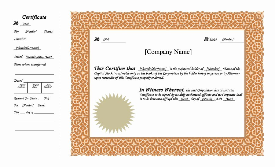 Stock Certificate Template Word Awesome 41 Free Stock Certificate Templates Word Pdf Free