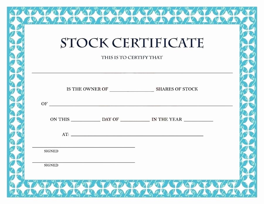 Stock Certificate Template Word Elegant Sample Share Certificate Word format – Threestrands
