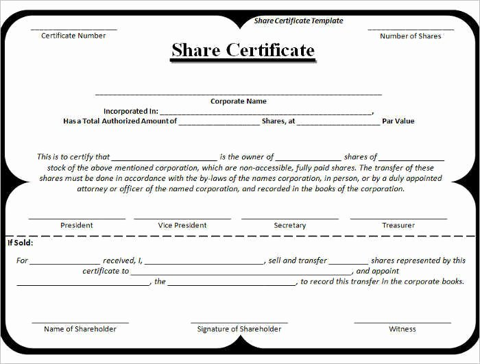 Stock Certificate Template Word Fresh 42 Stock Certificate Templates Free Word Pdf Excel formats
