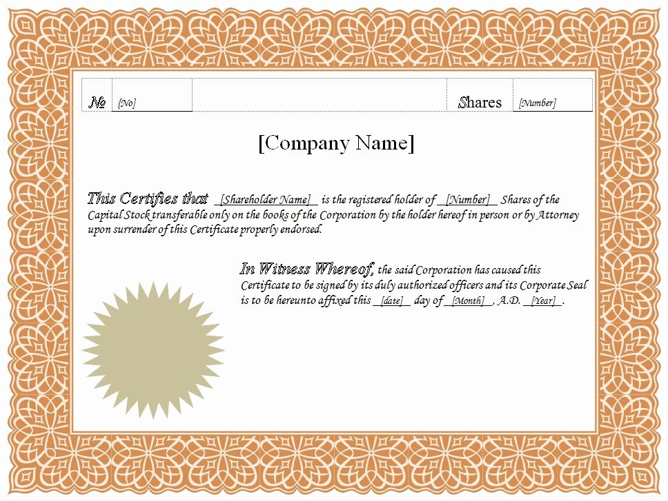 Stock Certificate Template Word Inspirational formatted Stock Certificate Templates