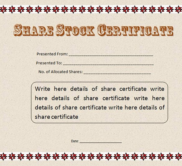 Stock Certificate Template Word Lovely 22 Stock Certificate Templates Word Psd Ai Publisher