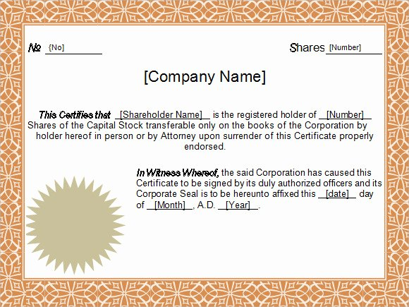 Stock Certificate Template Word New Stock Certificate Template 4 Free Download for Pdf Word