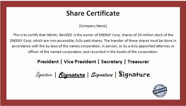 Stock Certificate Template Word Unique Business Certificate Template