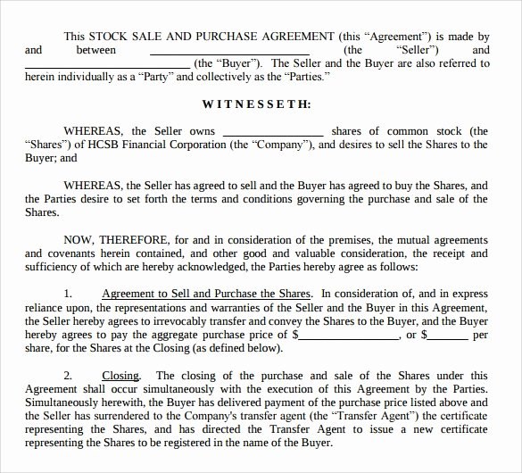 Stock Purchase Agreement Template Beautiful 10 Stock Purchase Agreement Templates Samples Examples
