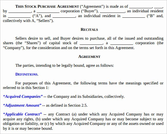 Stock Purchase Agreement Template Best Of 10 Stock Purchase Agreement Templates Samples Examples