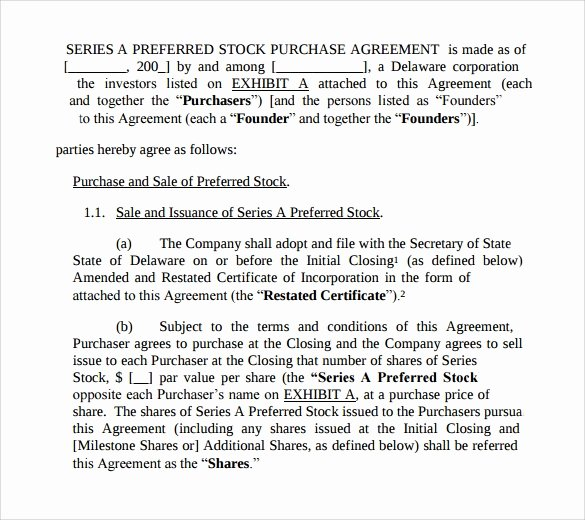 Stock Purchase Agreement Template Lovely 10 Stock Purchase Agreement Templates Samples Examples