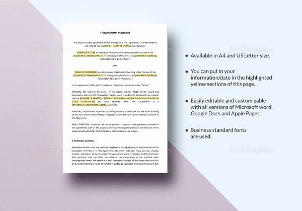 Stock Purchase Agreement Template Unique 18 Sample Buy Sell Agreement Templates Word Pdf Pages
