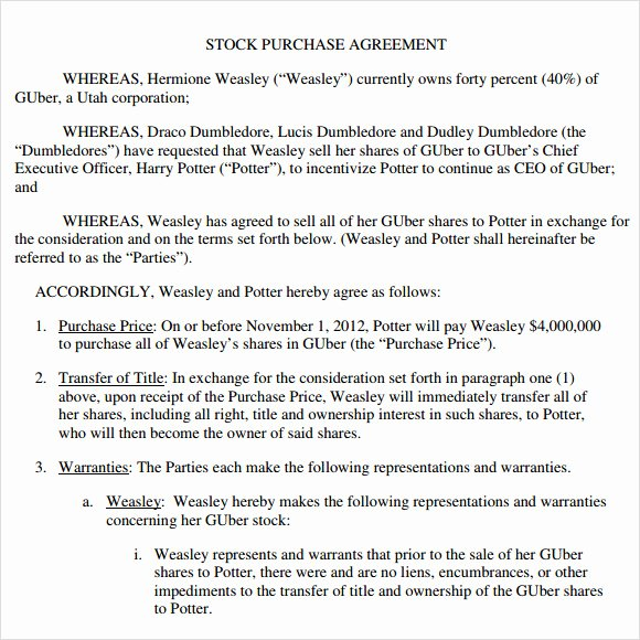 Stock Purchase Agreement Template Unique 9 Stock Purchase Agreement Samples