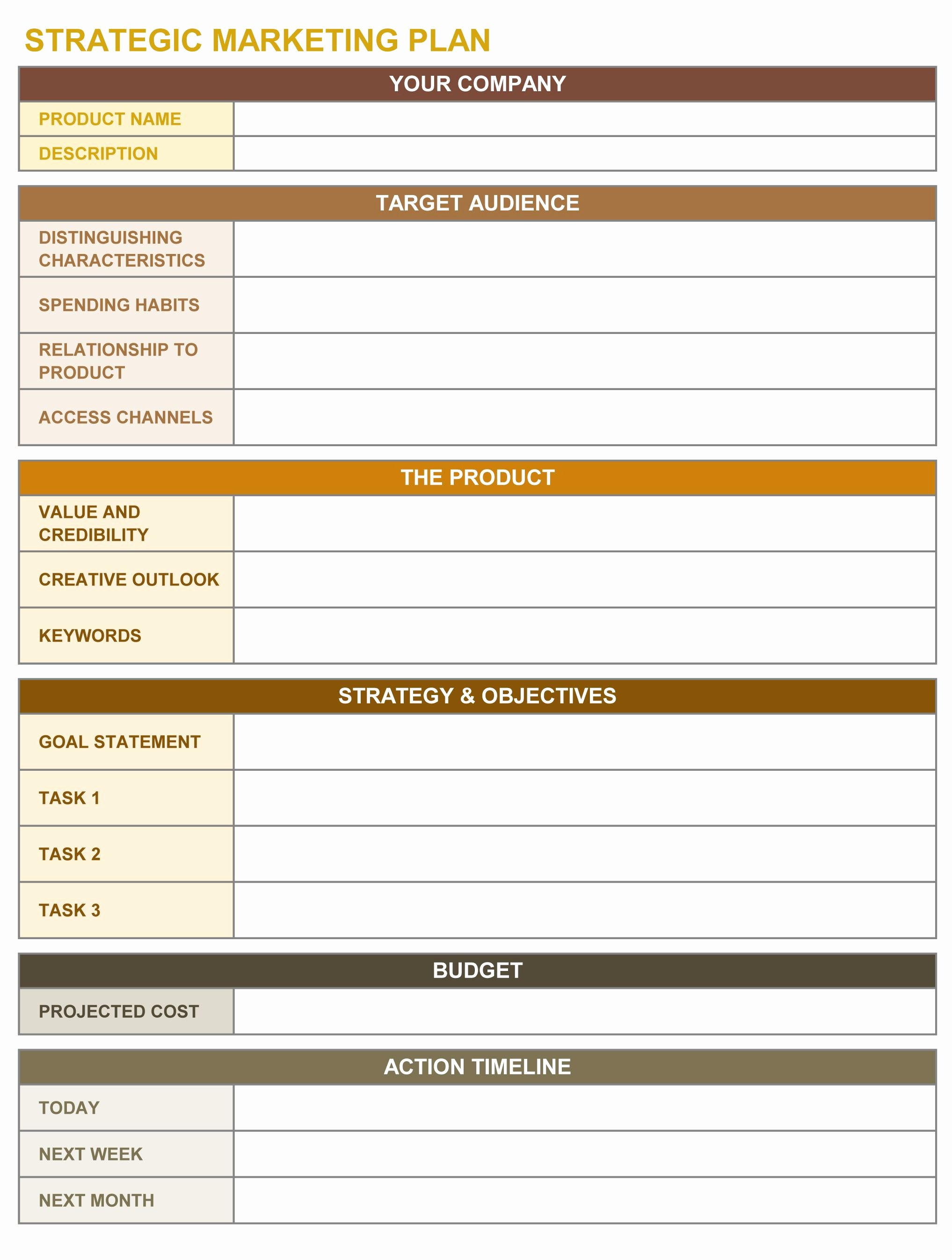Strategic Plan Template Excel Elegant Strategic Marketing Plan Excel Template
