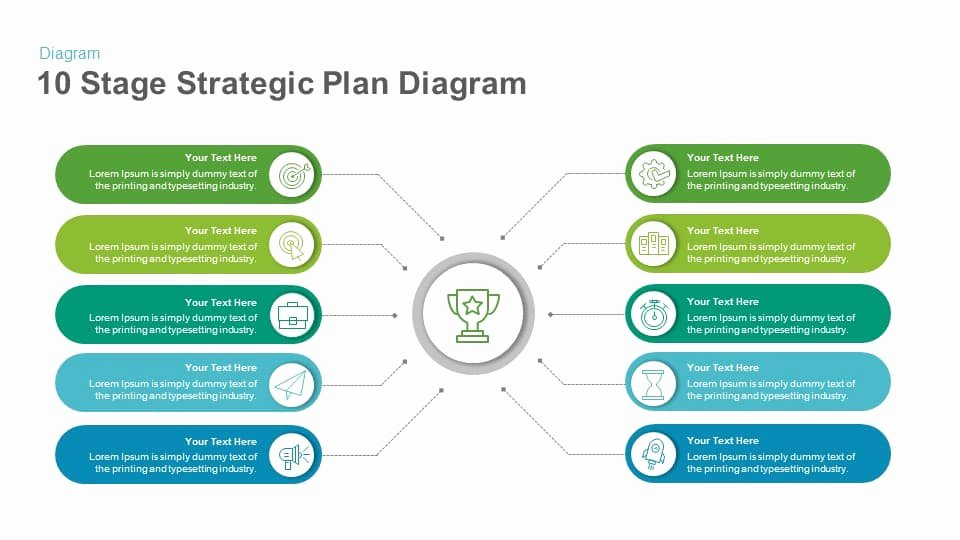 Strategy Plan Template Powerpoint New 10 Stage Strategic Plan Diagram Template for Powerpoint