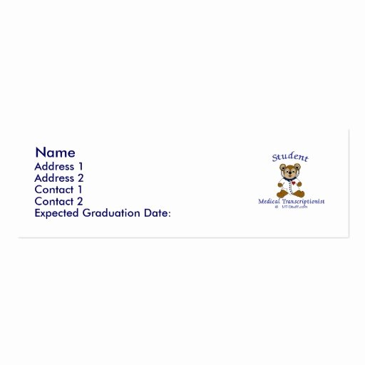 Student Business Card Template Awesome Mt Bear Student Mt Business Card Template